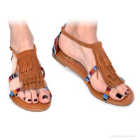 Vegan Suede Ikat Fringe Sandals on Sale for $21.95 at HippieShop.com
