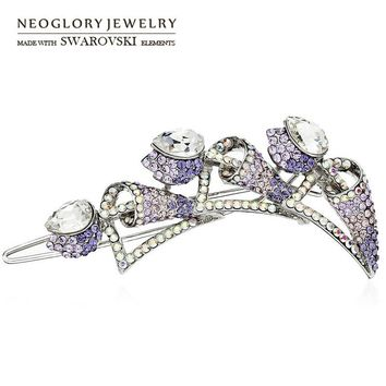 Neoglory Austria Crystal & Auden Rhinestone Barrettes Alloy Plated Romantic Purple Flower Design Lady Hair Jewelry