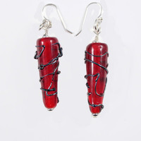 Red Glass Earrings Cherry Transparent Cone with Silvered Scrollwork Lampwork Beads and Sterling Silver findings