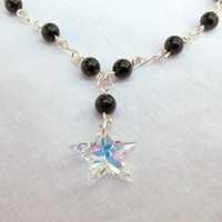 Shooting Star Necklace, Northern Sky Collection - Swarovski Crystal necklace, Goldstone jewellery