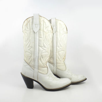 Capezio Cowboy Boots Vintage 1970s Leather White Stacked Heel Women's size 8 1/2