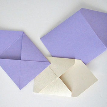 25 teeny tiny miniature square custom envelope note card sets in custom colors and sizes  stationery party favors weddings