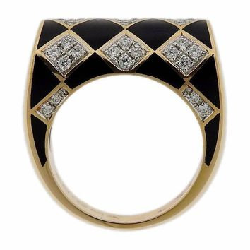 G. Bulgari Enigma Gold Diamond Enamel Ring