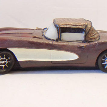 Plum Purple Corvette Paperweight Muscle Car Office Desk Decor Classic Automobile