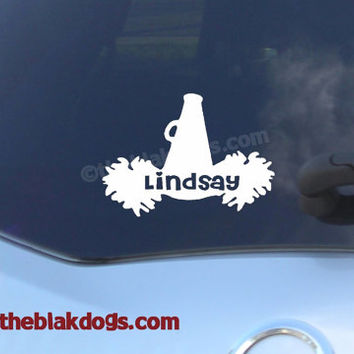 Cheerleading Custom Name with Megaphone and Pom Poms Vinyl Sticker Car Decal