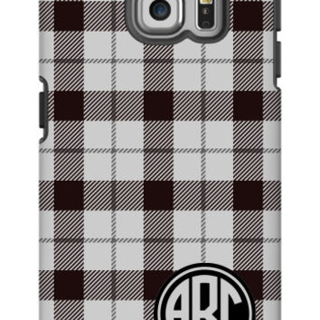 Plaid Monogram Galaxy S6 Edge Extra Protective Bumper Case