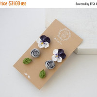 Christmas SALE White Purple Silver Green Stud Earrings 3 Set Wholesale Flower Ranunculus Pansies Studs Women Accessory Wedding Birthday Chri