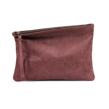 Brown leather clutch purse, premium distressed leather purse by Leah Lerner