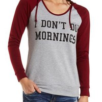 Mornings Graphic Raglan Hoodie by Charlotte Russe - Gray Combo