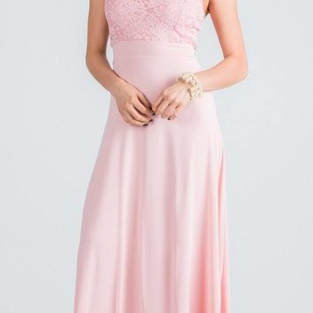Blush Long Formal Dress with Halter Embellished Neckline