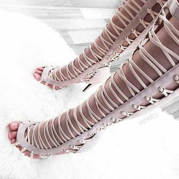 Straps Hollow Out Open Toe High Heel Thigh High Boot Gladiator Sandals