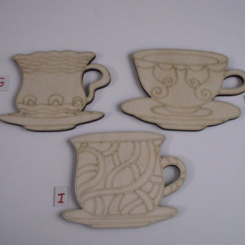 Teacup Wood Shapes, 3 Pieces, Assorted Styles, Laser Cut, Unfinished Wood, Ornaments, Wreaths, Door Hangers, Ready to Paint Wood Shapes