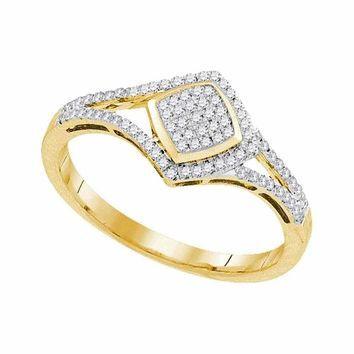 10kt Yellow Gold Women's Round Diamond Diagonal Square Cluster Split-shank Ring 1-5 Cttw - FREE Shipping (USA/CAN)