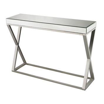Klein-Mirror And Stainless Console Table Clear,Chrome