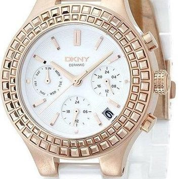 DKNY Chambers Multi-Funtions 38MM White Ceramic Women's Watch NY2225