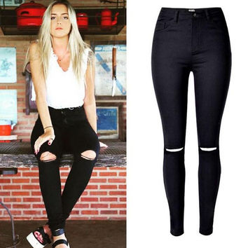 Elastic High Waist Plus Size Holes Beggar Slim Jeans