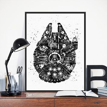 Vintage Black White Pop Movie Star Wars Millennium Ship Print Poster Wall Art Picture Canvas Paintings Kids Room Decor No Frame