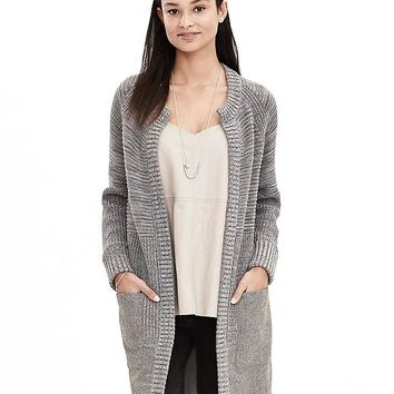 Banana Republic Womens Tweed Hem Open Sweater Coat