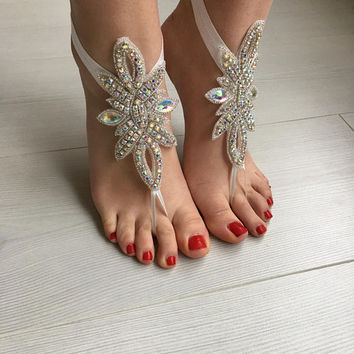 EXPRESS SHIPPING Rhinestone Anklet, Crystal Barefoot sandals, Beach wedding barefoot sandals, Bridal foot jewelry, Bridesmaid gift,