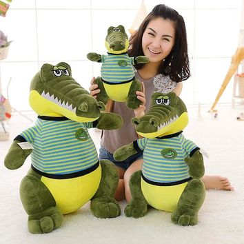 Super cute large stuffed  plush baby toys crocodile sitting pillow doll soft  birthday gifts for kids boys friends New Year gift