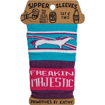 Freakin Majestic Unicorn Coffee Sipper Sleeves in Blue and Pink