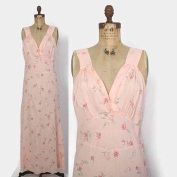 Vintage 40s Floral NIGHTGOWN / 1940s Floral Print Roses Full Length Bias Cut Slip Dress L