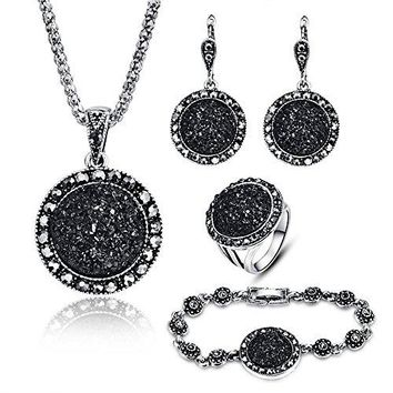 SHIP BY USPS: LUYUAN JEWELRY 4 PCS Black Jewelry Set for Women Diamond Drusy Agate Pendant Women Necklace Earring Ring and Bracelet Wedding Jewellery