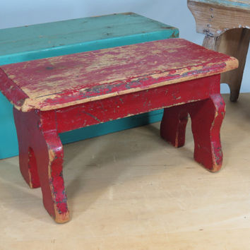 Wooden Red Step Stool Old Worn Chippy Paint
