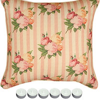 "Manual Woodworkers SLYCFS Yorkshire Cottage Floral Stripe Pillow 18""x18"" with 6-Pack of Tea Candles"