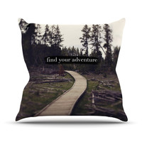 "Leah Flores ""Find Your Adventure"" Nature Quote Outdoor Throw Pillow"