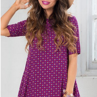 Half Sleeve Print Overall Dress