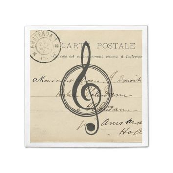 Vintage Musical Clef French Postcard Napkin