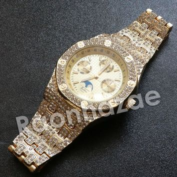 Iced Out Hip Hop Gold Techno Pave Wrist Watch