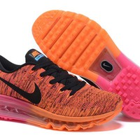 """""""Nike Air Max Flyknit"""" Unisex Sport Casual Rainbow Flywire Weave Air Cushion Sneakers Couple Running Shoes"""