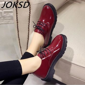 High Quality Women oxfords Flats Platform shoes Patent Leather Slip-on pointed Creeper