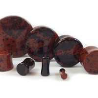 Stone Plugs Mahogany Obsidian Organic - by the pair