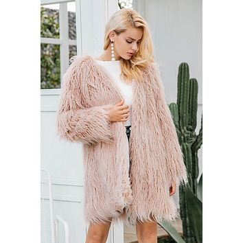 Faux Mongolian Fur Coat