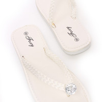 White Gemstone Braided Thong Sandals Faux Leather