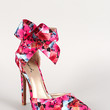 Qupid Floral Bow Cuff Pointy Toe Pumps