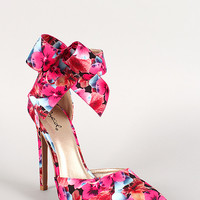 Qupid Floral Bow Cuff Pointy Toe Pump