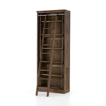 ROYCE BOOKCASE WITH LADDER-BROWN UMBER PINE