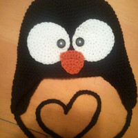 Crochet Earflap Beanie Penguin Hat - Baby, Toddler, Child or Preteen Size - Adult Size Must Add On