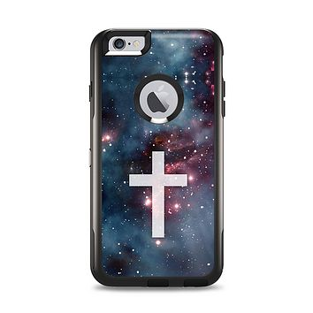 The Vector White Cross v2 over Red Nebula Apple iPhone 6 Plus Otterbox Commuter Case Skin Set