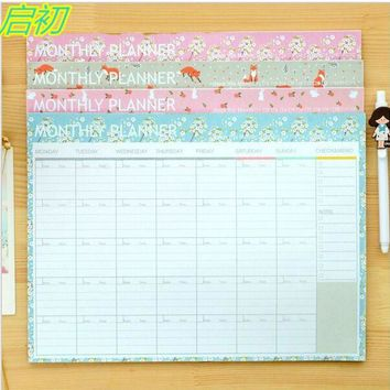 Flower Cartoon Fox Rabbit Monthly Organiser Planner Desk Table Business Schedule To Do List For College And Office 21cm X 28.5cm