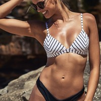 All You Ever Wanted Bikini Top in White Stripe Produced By SHOWPO