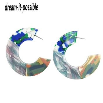 Dream-it-possible Trendy Exaggerated Bohemian acetic acid charm elegant Stitching color new resin hoop earring acrylic jewelry