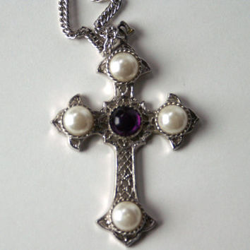 Vintage Cross Necklace Sarah Coventry Silvertone Filigree Large Pendant & Chain Faux Pearls and Amethyst Cachobons - Medieval/Gothic Look