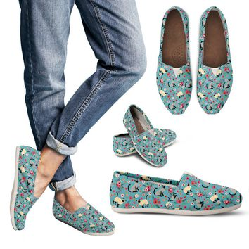 Siamese Cat Flower Casual Shoes