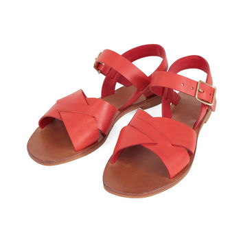 Flat Sandal - Red Veg Leather
