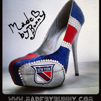 New York Rangers NHL Hockey Glitter Sports Heels with Crystal Rhinestones - Stiletto / Pumps / Shoes